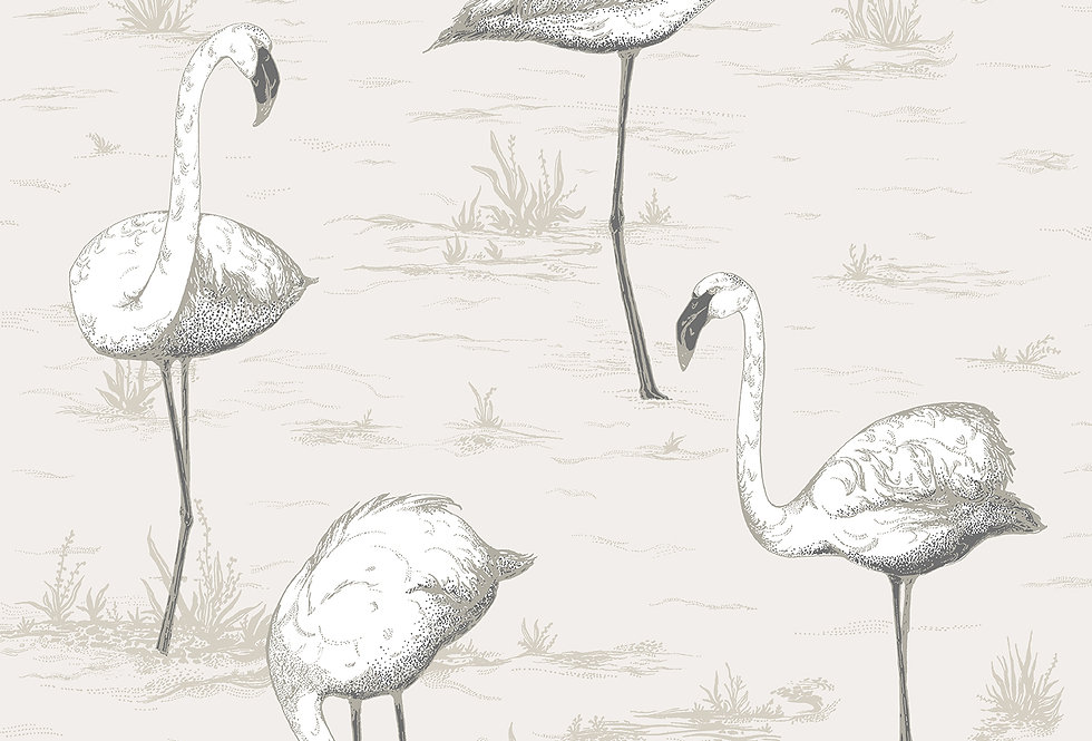 Cole & Son - Contemporary Restyled Flamingos Charcoal on White 95/8046