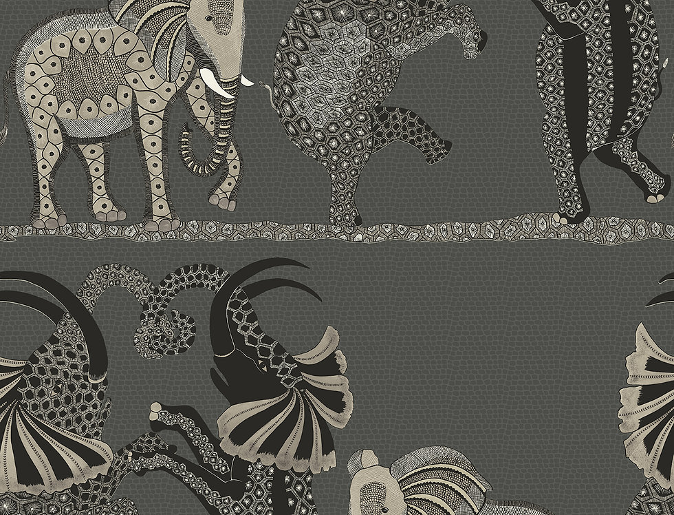 Cole & Son - Ardmore Safari Dance Charcoal Black + White 109/8039