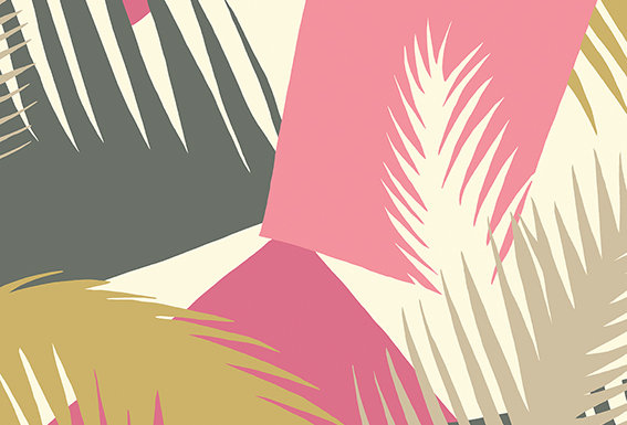 Cole & Son - Geometric II Deco Palm Pink 105/8038