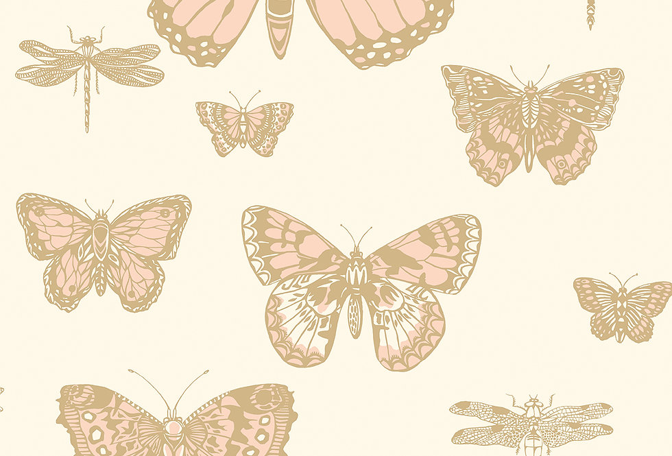 Cole & Son - Whimsical Butterflies & Dragonflies Pink on Ivory 103/15066