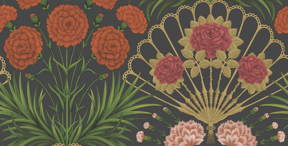 Cole & Son - Seville Flamenco Fan Cerise, Tangerine & Gold on Black 117/14043