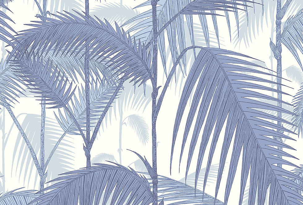 Cole & Son - Contemporary Restyled Palm Jungle Blues on White 95/1005