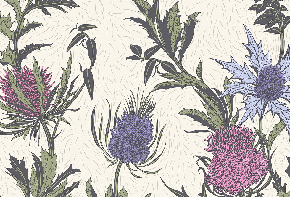 Cole & Son - Botanica Thistle Lilac & Cerise on White 115/14044