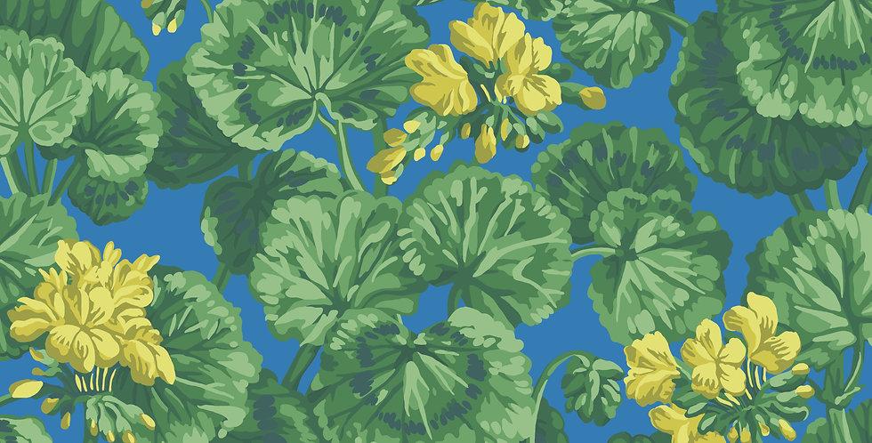 Cole & Son - Seville Geranium Lemon & Forest Greens on Electric Blue 117/11032