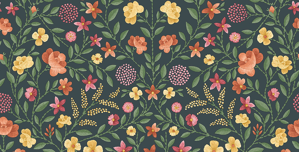 Cole & Son - HRP GM Marigold, Tangerine & Red on Charcoal 118/13031