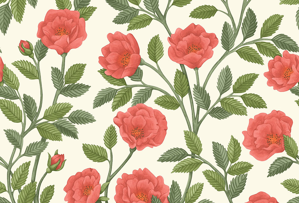 Cole & Son - HRP GM Rouge & Spring Green on Parchment 118/7013