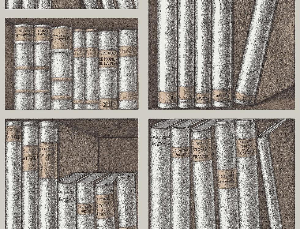 Cole & Son - Fornasetti Senza Tempo Ex Libris Stone & Linen Soot 114/15029