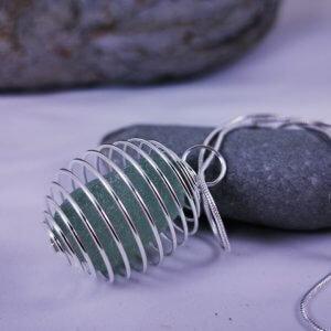 Soft green Cornish Sea Glass Pendant