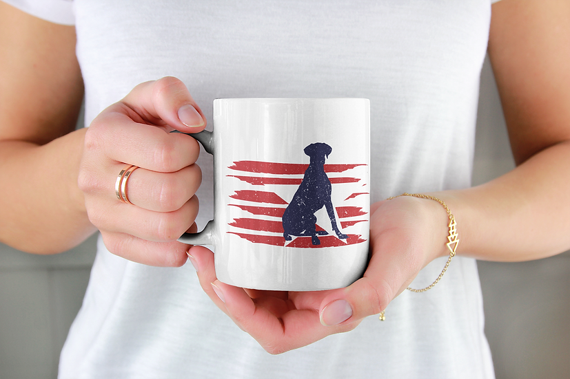 Great Dane distressed effect red flag mug