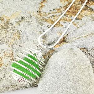 Green Cornish Sea Glass Pendant
