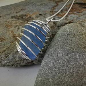 Blue Cornish Sea Glass Pendant