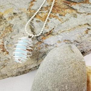 White Cornish Sea Glass Pendant