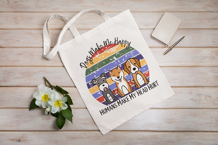 Dogs Make Me Happy Shopper Tote