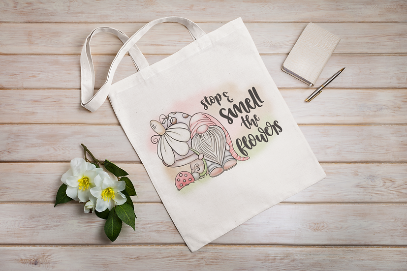Stop & Smell The Flowers Gnome Shopper Tote Bag