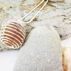 Amber Brown Cornish Sea Glass Pendant