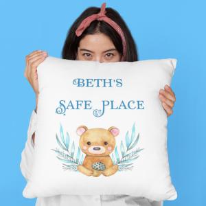 Personalised Safe Place Cushion Bear
