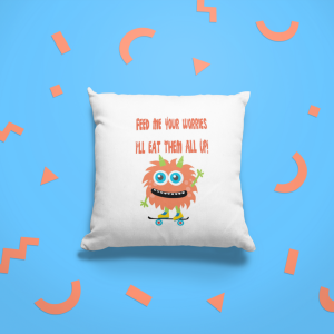 Eat Your Worries Monster Cushion Orange