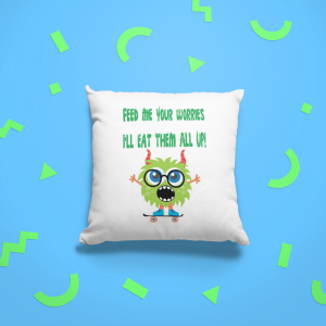 Eat Your Worries Monster Cushion Green