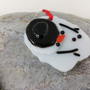 Melted Snowman Fused Glass Decoration