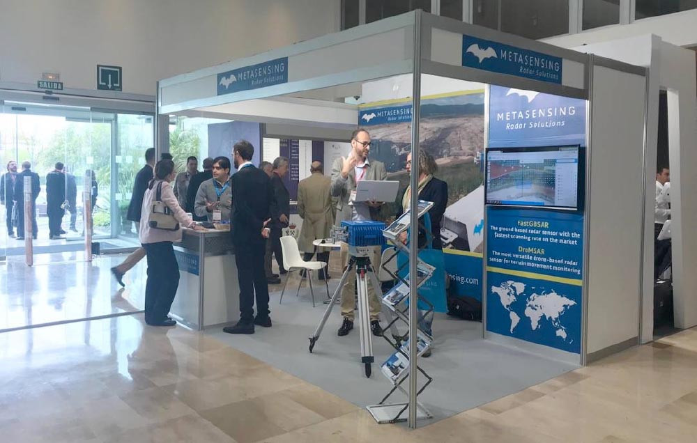 The MetaSensing stand at the Miniera fair 2018, in Seville, Spain