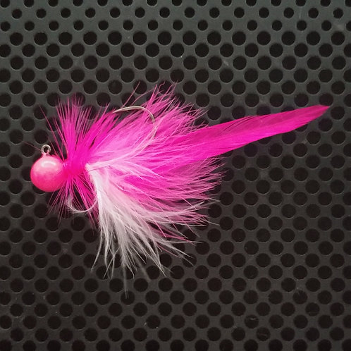 Full Tail Jigs (1/4 oz) - UV Pink & White - Glow Pink Head - (FT1)