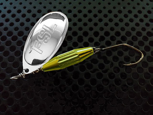 Torpedo Spinners - Polished Silver/Candy Chartreuse