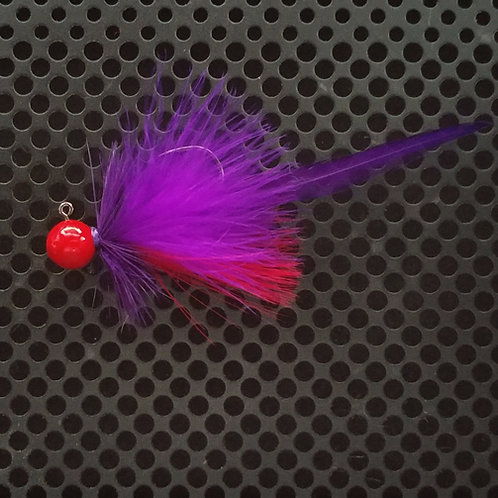 Full Tail Jigs (1/4 oz) - Flame Red & Purple - Flame Head - (FT3)