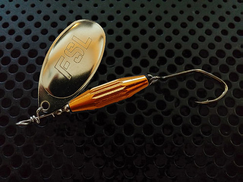 Torpedo Spinners - Polished Brass/Candy Orange