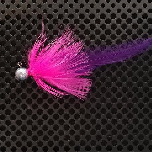 Full Tail Jigs (1/4 oz) - UV Pink & Purple - Plain Head - (FT5)