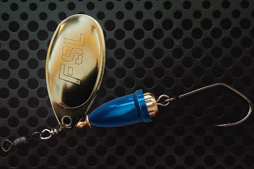 FSL Bell Spinners - Polished Brass/Candy Blue