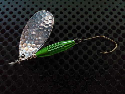 Torpedo Spinners - Hammered Silver/Candy Green