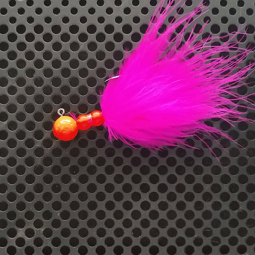Beaded Jigs - Flo Red & Flo Orange - (1/8th oz) - B4