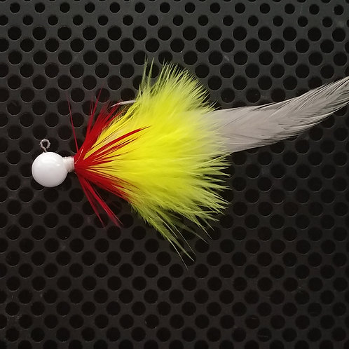 Full Tail Jigs (1/4 oz) - Chartreuse & Red - White Head - (FT7)