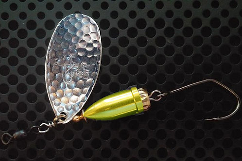 FSL Bell Spinners - Hammered Silver/Candy Chartreuse
