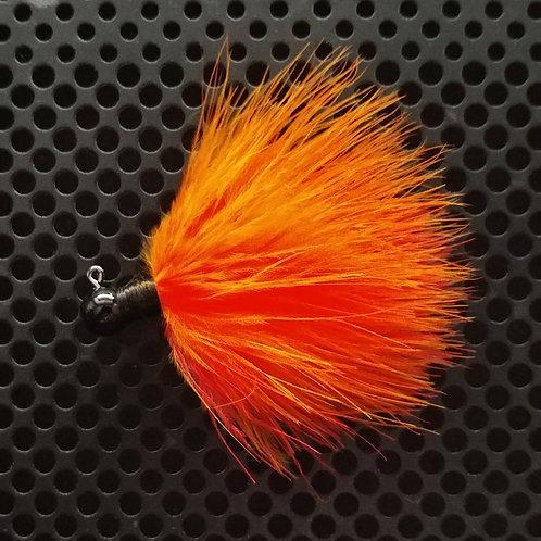 OS 1/8th Oz Marabou Jigs - Flame Red/Orange (os09)