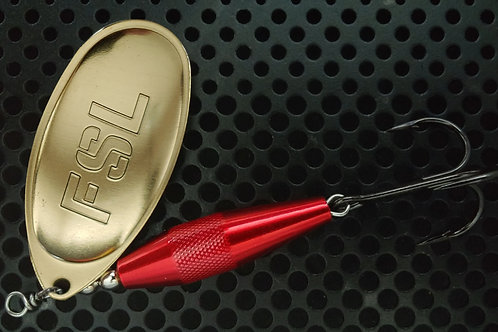 Jetty Caster - Brass & Candy Red