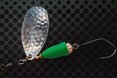 FSL Bell Spinners - Hammered Silver/Flo Green