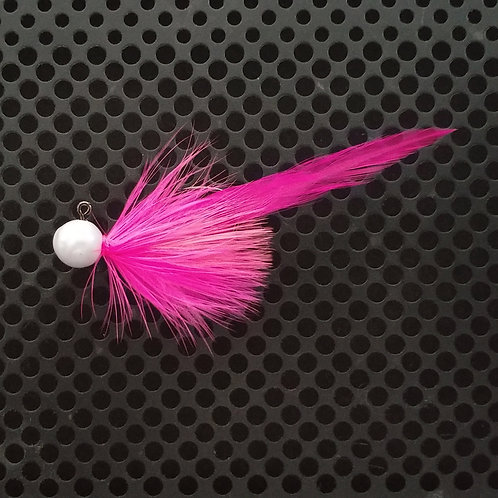 Full Tail Jigs (1/4 oz) - Flo Pink & Shrimp - Pearl Head - (FT8)