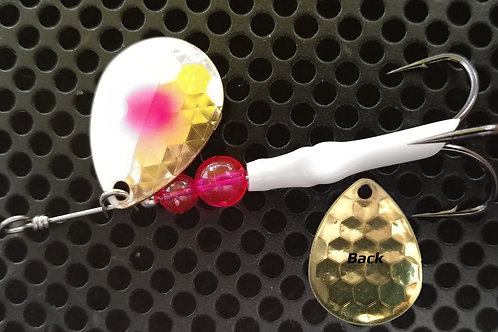 #3.5 R&B Colorado Spinners - Brass White Pink Dot