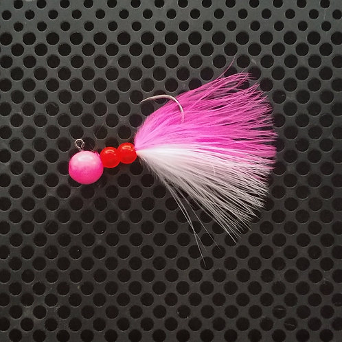 Beaded Jigs - UV Pink & White - (1/4 oz) - B1