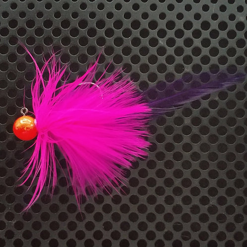 Full Tail Jigs (1/4 oz) - UV Cerise & Pink - Flame Head - (FT6)
