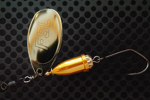 FSL Bell Spinners - Polished Brass/Candy Orange