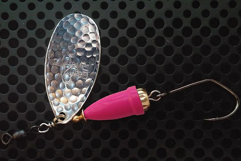 FSL Bell Spinners - Hammered Silver/Flo Pink