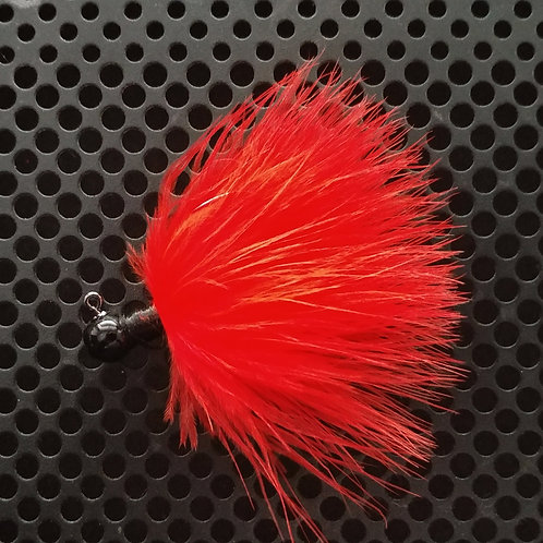OS 1/8th Oz Marabou Jigs - Flame Red (os2)