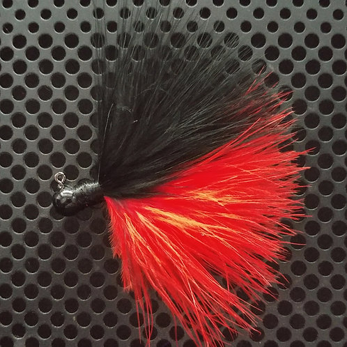 OS 1/8th Oz Marabou Jigs - Flame Red/Black (os4)