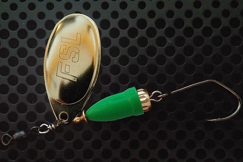 FSL Bell Spinners - Polished Brass/Flo Green