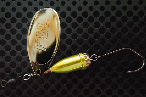FSL Bell Spinners - Polished Brass/Candy Chartreuse