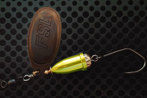 FSL Bell Spinners - Tarnished Brass/Candy Chartreuse