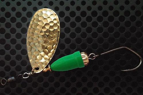 FSL Bell Spinners - Hammered Brass/Flo Green