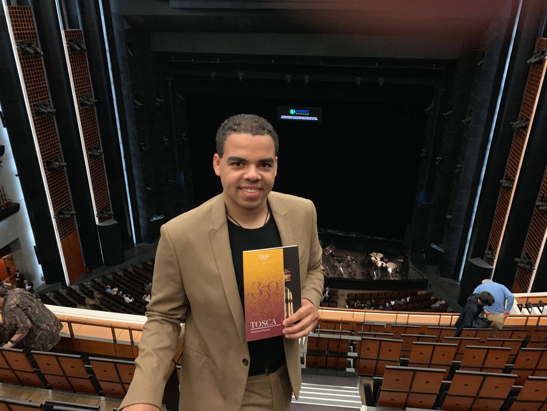 Brandon Di Noto attending a performance of Puccini's Tosca in Paris.
